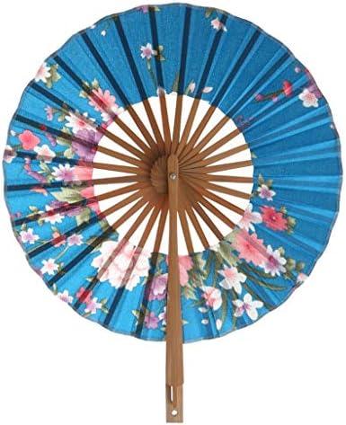 折りたたみ手のファン 360度回転ファンラウンド竹工芸ファンポケット折りたたみハンドファンラウンドサークルパーティーの装飾ギフト (Color : D)
