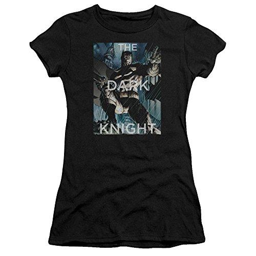 (Trevco Batman Fighting The Storm Juniors' Sheer Fitted T Shirt, Medium Black)