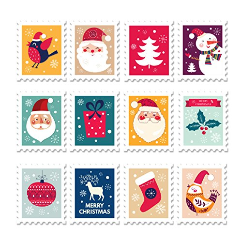 (ArtsyCanvas Postage Stamps - Christmas Graphic Wall Decals - 24x24 Peel'N'Stick Wall Art)