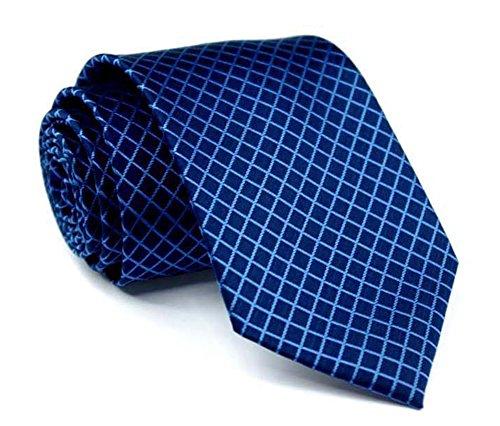 Men Narrow Navy Blue Check Woven Silk Tie Regular Soft Business Big Boys Necktie by Kihatwin (Image #2)'
