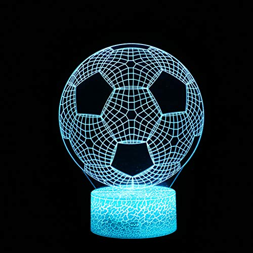 Iusun 3D Football Children Night Lamp 7 LED Colors Changing Table Desk DecorationDecorations Glowing DIY Ornament Wedding Party Holiday (Diy Snowman Wreath)