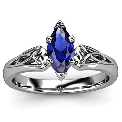 Ring Sapphire Blue Celtic (TVS-JEWELS Blue Sapphire Marquise Triquetra Celtic Platinum Plated 925 Silver Engagement Ring (6.5))
