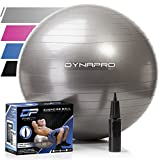Exercise Ball with Pump- Gym Quality, Anti-Burst, Anti-Slip (Silver, 65 centimeters) Fitness Ball by DynaPro Direct. More colors and sizes available aka Yoga Ball, Swiss Ball