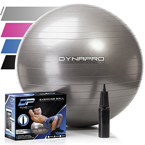 Exercise Ball with Pump- Gym Quality, Anti-Burst, Anti-Slip (Silver, 65 centimeters) Fitness...