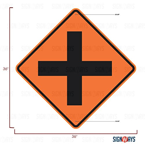 Diamond Cross Mounting - W2-1 Cross Road Ahead Sign, Includes 2 Free Mounting Bolts, 36