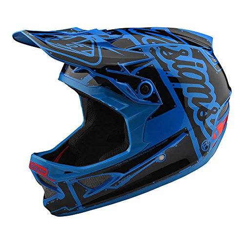Troy Lee Designs D3 Fiberlite Factory Mountain Downhill BMX Bike Full Face Helmet 2018 (Large, Ocean Blue/Black)