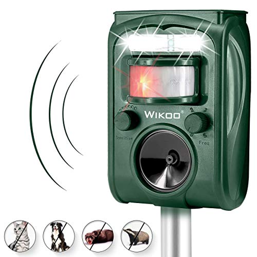 Electronic Dog Repellent - Wikoo Ultrasonic Animal Repeller,Solar Powered and Micro USB Cable Charging Pest Repeller,Waterproof Outdoor Repellent with Motion Activated PIR Sensor,Repel Dogs,Cats,Squirrels and More