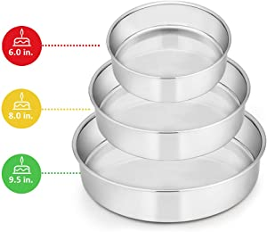 Cake Pan Set of 3 (6 inch/8 inch/9½ inch), E-far Stainless Steel Round Layer Cake Baking Pans, Perfect for Birthday Wedding Tier Cake, Non-Toxic & Healthy, Mirror Finish & Dishwasher Safe