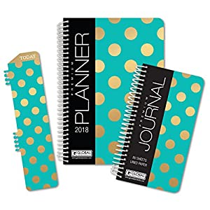 Best Planner 2018 Agenda for Productivity, Durability and Style. 5x8 Daily Planner / Weekly Planner / Monthly Planner / Yearly Agenda HARDCOVER Organizer with BOOKMARK and JOURNAL (Gold Dot Turquoise)