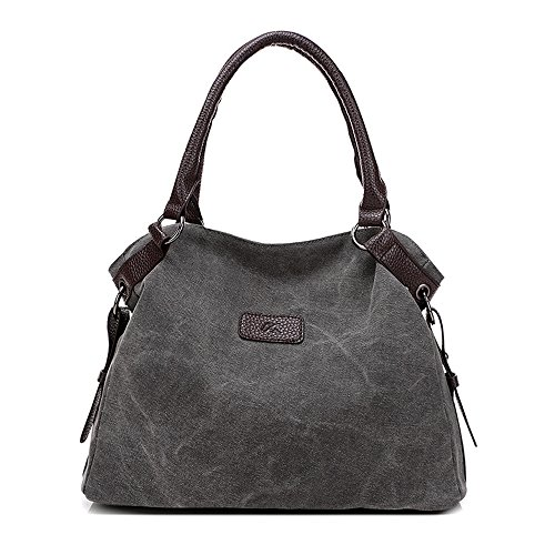 ZIIPOR Women's Canvas Handbags Totes Crossbody Shoulder Bag (Grey)