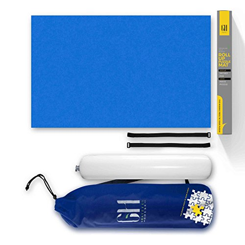 GRATEFUL HOUSE Offer Premium ROLL UP Puzzle MATS for Jigsaw Puzzles. Beautiful Blue Felt lays Perfectly Flat Comes Rolled/not Folded. Fits 500 1000 1500 Piece Jigsaw Puzzles. Size 46 x 26 inches