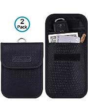 Faraday Bag for Key Fob, Wisdompro 2 Pack WP4694 RFID Key Fob Protector RF Car Signal Blocking, Anti-Theft Pouch, Anti-Hacking Case Blocker - Black