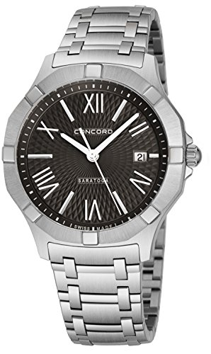 Concord Saratoga Mens Stainless Steel Watch - 40mm Black Face Timepiece with Second Hand, Date and Sapphire Crystal Analog Quartz Watch - Durable Metal Band Swiss Made Luxury Watches for Men 0320155