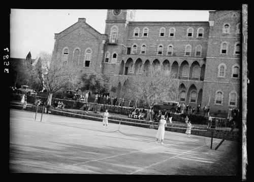 Photo: American University,Beirut,(A.U.B.). Tennis courts. College Hall in - Shopping Online Beirut