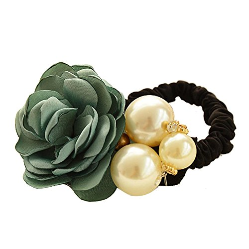 Hair Accessories,TOOPOOT Women Satin Ribbon Rose Flower Pearls Ponytail Hair band (green)
