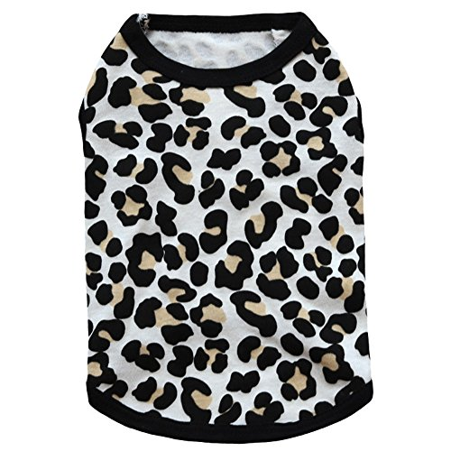 BBEART Pet Clothes, Leopard Print T-shirt Puppy Cat Cotton Vest Clothing Apparel Spring Summer Breathable Sleeveless Harness Costumes For Small Dogs (L, Black #2) ()