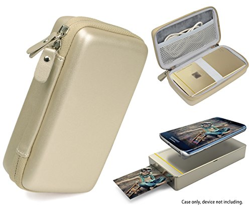 Designed Protective Case for Kodak Mini Mobile Wi-Fi & NFC Printer, also for Pickit M2 Portable Photo Printer, New LG Pocket Photo Printer 3 PD251, Mesh Pocket for Photo Paper and Cable (Gold) - Mini Printer Mobile