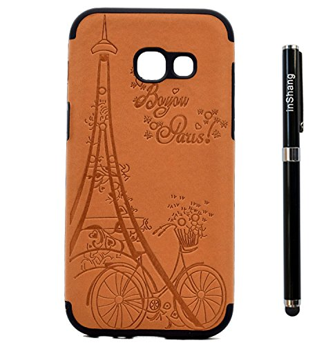 inShang Funda para Samsung Galaxy A3(2017) suave TPU Carcasa Cajas Soporte Skin case cover Para Galaxy A3(2017) + clase alta 2 in 1 inShang marca negocio Stylus pluma Brown Tower