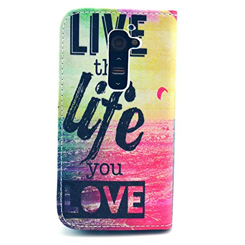 LG G2 Case, Live the Life you Love Flip Wallet Credit ID Card Slot Holder Phone Case With Stand --Retail Package W Screen Protector --Pink