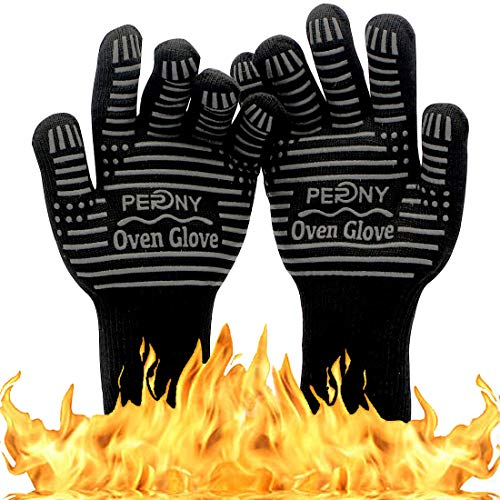PERNY 1472℉ Extreme Heat Resistant BBQ Gloves, Oven Silicone Glove for Cooking, Kitchen, Baking, Fireplace, Grilling, Welding (1 Pair Gloves) (For Fireplaces Kitchen Cooking)