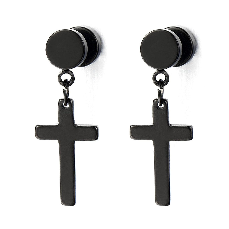 Boucle d'oreille anneau croix noir