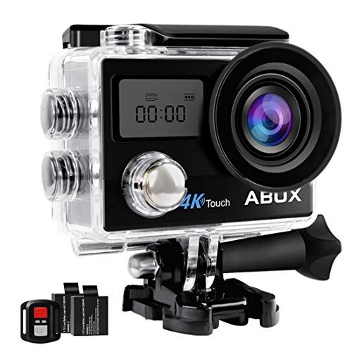 Action Camera, ABOX 4K 16MP WiFi Sport Cam 30M Waterproof Camcorder with Touch Screen/Dual Screen Display, 170°Wide-Angle Len,2.4G RF Remote, 2 Rechargeable Batteries and Mounting Accessories Kit