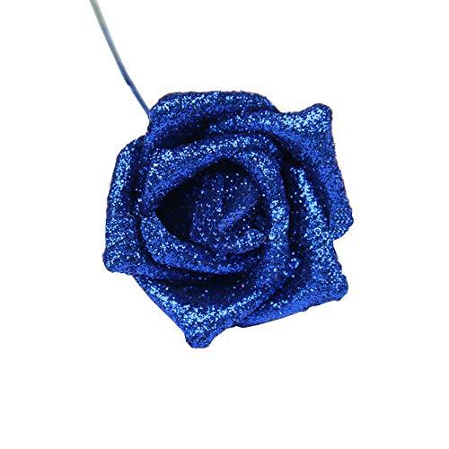 Lmeison 10Pcs Artificial Flower Rose Fake Foam Rose w/Stem for Bridal Wedding Bouquets Bunch Centerpieces Baby Shower DIY Party Home Halloween Christmas Décor (Blue)