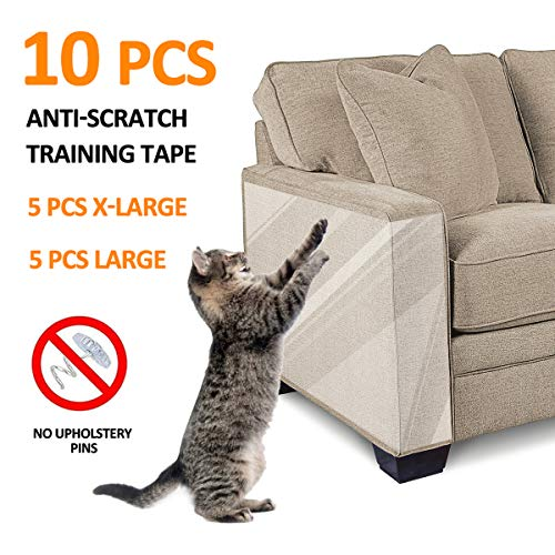 FOCUSPET Furniture Protectors from Cats 10pcs Cat Scratch Deterrent Sheet | Double-Sided Training Tape an-ti Pet Scratch for Leather Couch Furniture Protector 5XL-17
