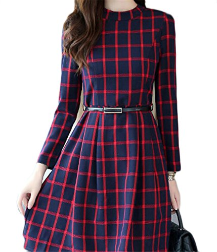 Print Women's Swing Red Jaycargogo Dress High Party Plaid Waist ITdIw4xA