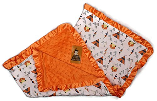 Dear Baby Gear Baby Blankets, Fox and Teepees, Orange Minky, 32 inches by 32 inches