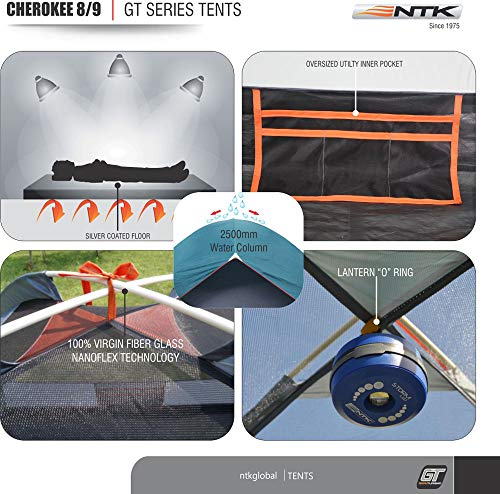 NTK Cherokee GT 8 to 9 Person 10 by 12 Foot Outdoor Dome Family Camping Tent 100% Waterproof 2500mm, Easy Assembly, Durable Fabric Full Coverage Rainfly – Micro Mosquito Mesh for Maximum Comfort.