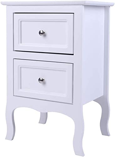 Country Style Two-Tier Night Table Large Size White