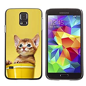 YOYO Slim PC / Aluminium Case Cover Armor Shell Portection //Cute Cat Kitten In A Pot //Samsung Galaxy S5