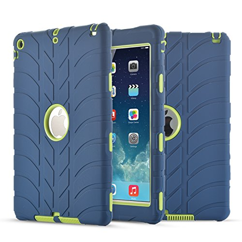 iPad Air Case,iPad 5 Case, UZER Tire Pattern Shockproof Anti-slip Silicone High Impact Resistant Hybrid Three Layer hard PC+Silicone Armor Protective Case Cover for iPad Air/iPad 5 2013 Old Model
