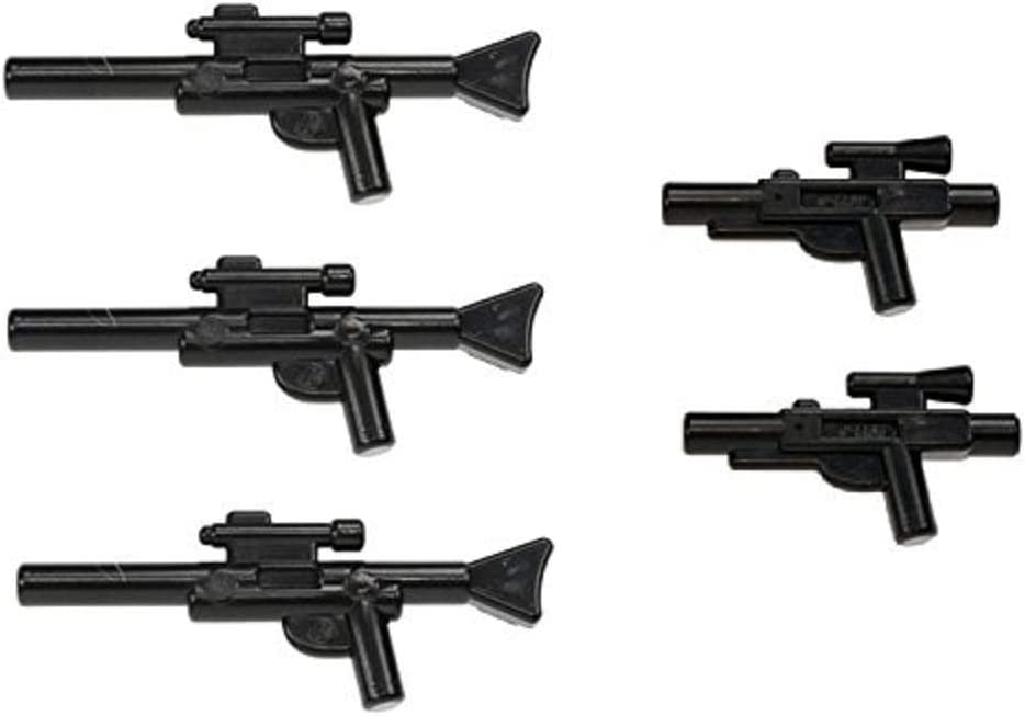 LEGO Star Wars Minifigure Blaster Guns Accessories 5 Pieces (3 Long Blasters, 2 Short Blasters)