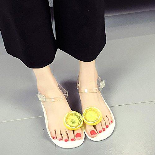 Sandalen__Elecenty Elecenty Sandalen Damen Sommerschuhe,Frauen Obst Sommer Zehentrenner Schuhe Schuh Damenschuhe Flip Flops Shoes Sandaletten Frauen Flache Offene T-Strap Freizeitschuhe Strandschuhe Weiß