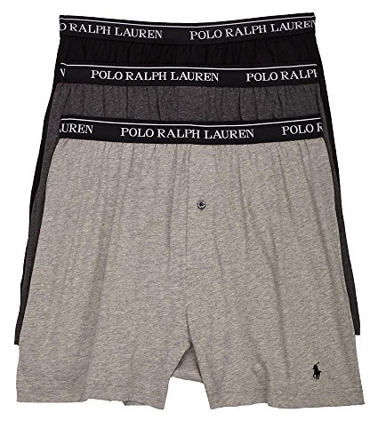 Polo Ralph Lauren Classic Cotton Knit Boxer 3-Pack, L, Assorted Grey (Ralph Lauren Underwear Men 3 Pack)