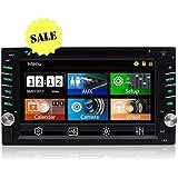 6.2 Double DIN Touchscreen In Dash Bluetooth Car Stereo 1080P FM AM Auto Radio Car CD DVD Player USB/SD/TF/AUX-in/Subwoofer/SWC + Remote Control Multi-Color Illumination Head Unit
