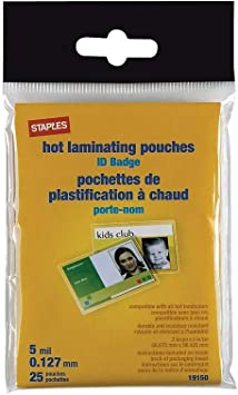 Amazon Com Staples 848467 Id Tag Size Thermal Laminating Pouches 5 Mil 25 Pack Office Products