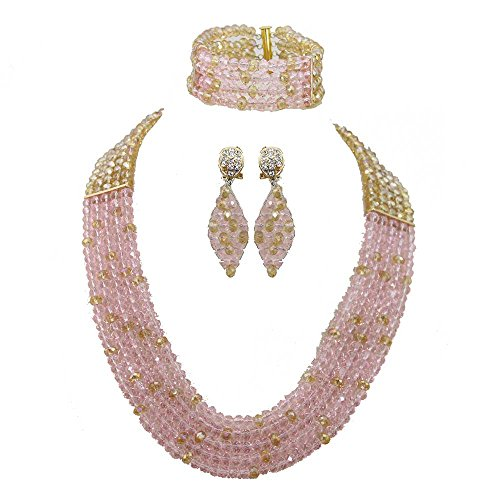Africanbeads 6mm 5Rows Pink and Gold African Wedding Jewelry Set,Crystal Beads Necklace (Pink Gold Jewelry)