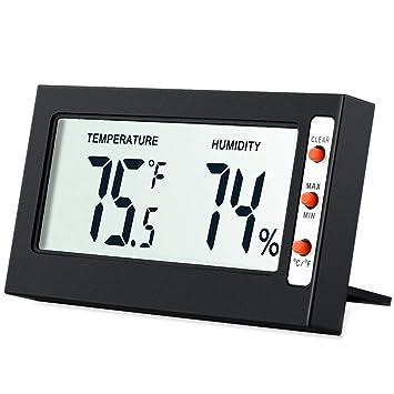 Humedad Interior Termómetro Monitor Sensor, Amir® Termómetro Digital – Medidor de Humedad Higrómetro y