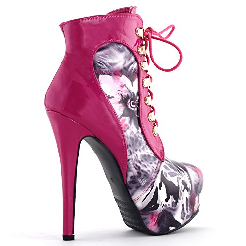 Hot Up Pink Ankle Lace Story Pump Gothic Show LF80831 Stiletto Purple Black Bootie Heel 6cIxwqf7Oq