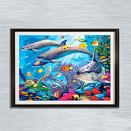 Leezeshaw 5D DIY Diamond Painting by Number Kits Fameless Rhinestone Embroidery Paintings Pictures for Home Decor - Dolphin(15.7x11.8inch/40x30cm)