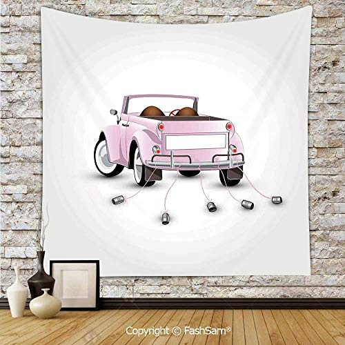 FashSam Tapestry Wall Blanket Wall Decor Just Married Themed Open Roof Top Car Love for Bride and Groom Picture Wedding Print Home Decorations for -