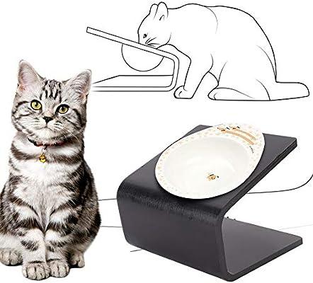 Senza Cibo per Animali Ciotola per Gatti rialzata in Ceramica con Supporto in Legno