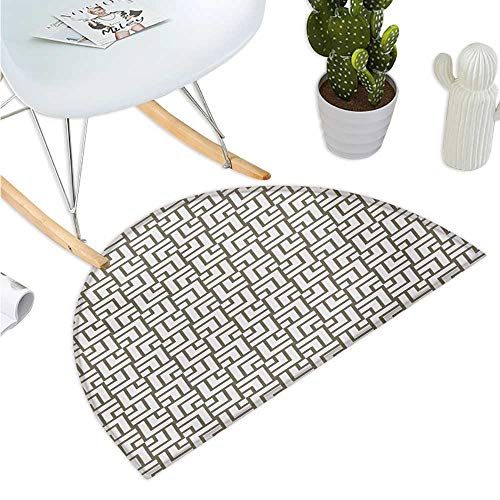 Modern Semicircular Cushion Mysterious Vintage Maze Modern Shape in Squares Lines Work of Art Print Entry Door Mat H 47.2