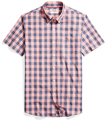 Goodthreads Men's Slim-Fit Short-Sleeve Gingham Plaid Poplin Shirt, Pink/Blue, Medium - Mens Poplin Pull