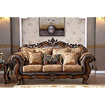 Delightful Meridian Furniture 693 S Seville Solid Wood Upholstered Sofa With  Traditional Hand Carved Designs,