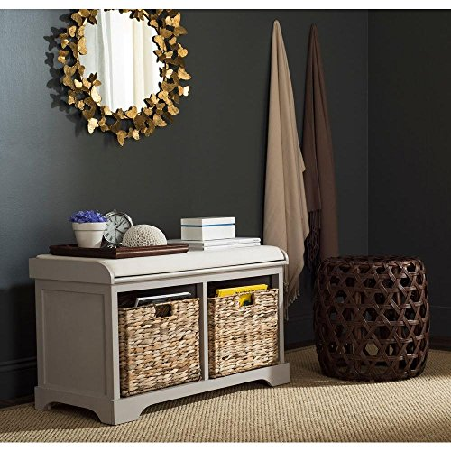 Safavieh American Homes Collection Freddy Vintage Grey Wicker Storage Bench (Baskets Bench Wicker Storage)