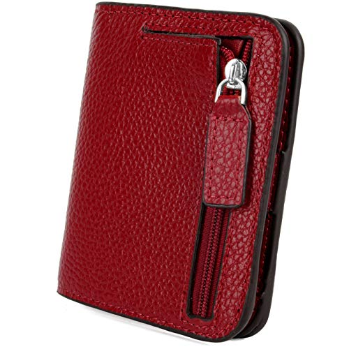 YALUXE Women's Small Compact Bi-fold Leather Pocket Wallet Red with RFID Blocking
